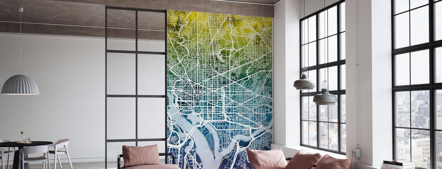 Washington DC Street Map Bluegreen - Wallpaper - Office