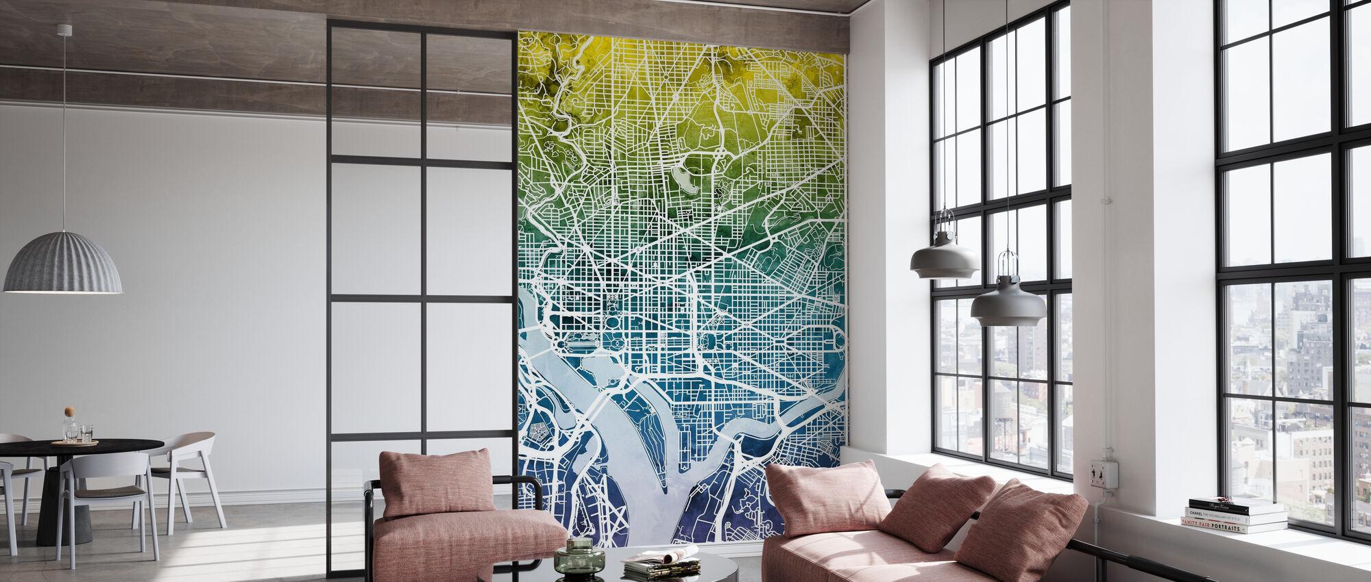 Washington DC Street Map Bluegreen - Carta da parati - Uffici