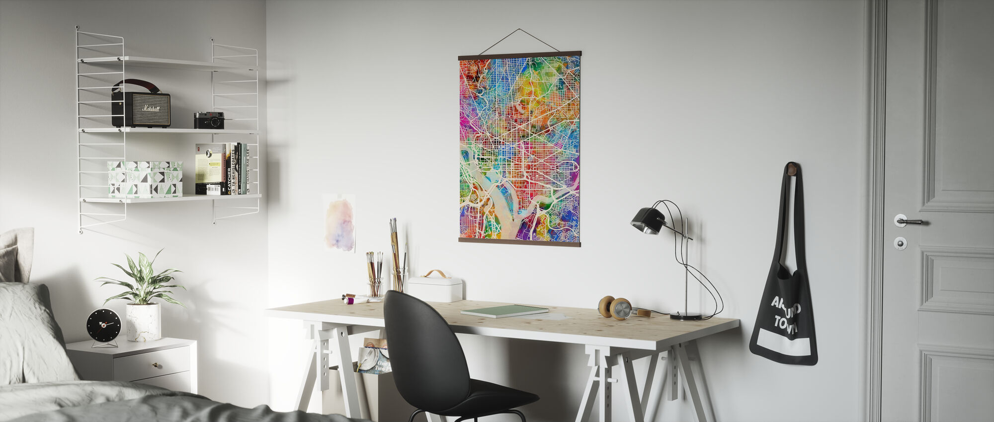 Washington DC Street Kort flerfarvet - Plakat - Kontor
