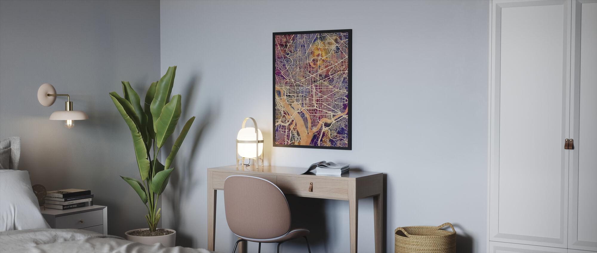 Washington DC Street kort lilla - Plakat - Soveværelse