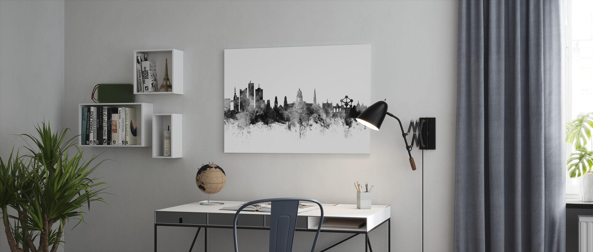Bruxelles Skyline Sort - Billede på lærred - Kontor