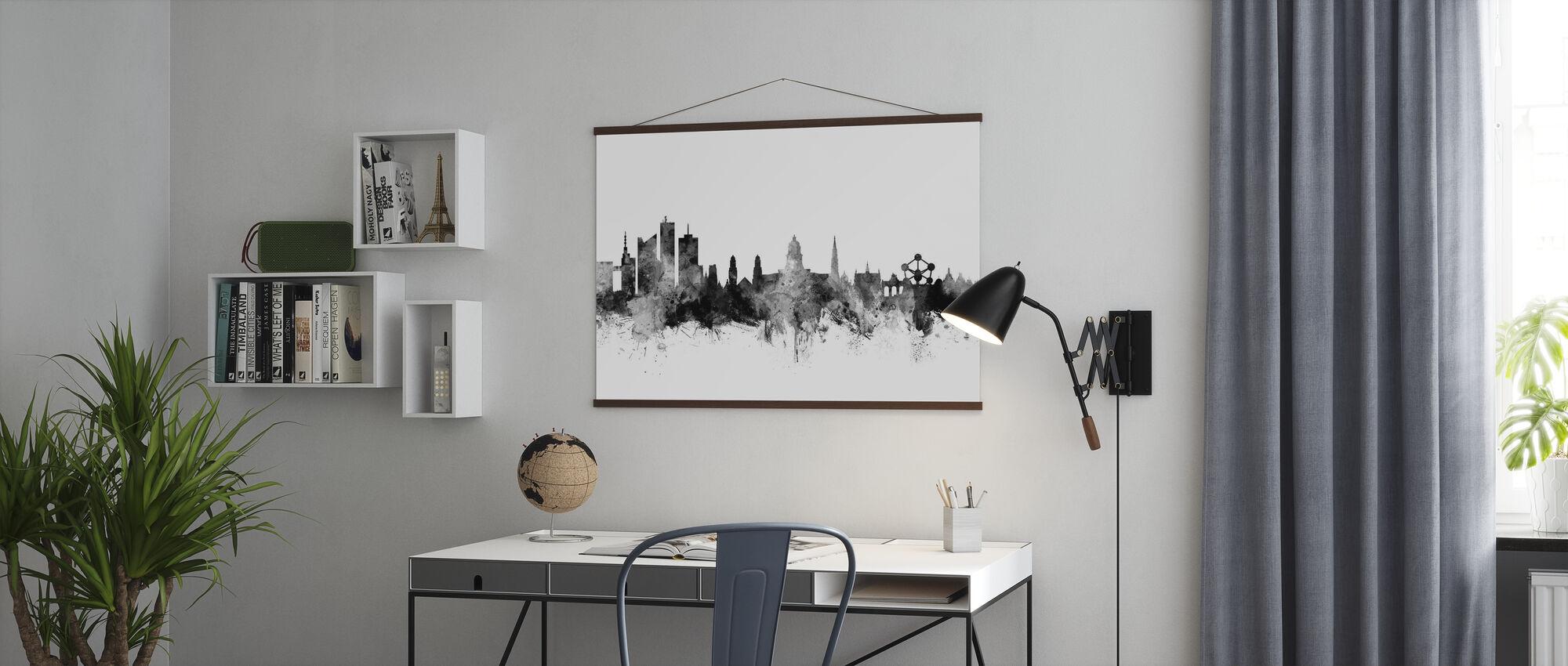 Bruxelles Skyline Sort - Plakat - Kontor