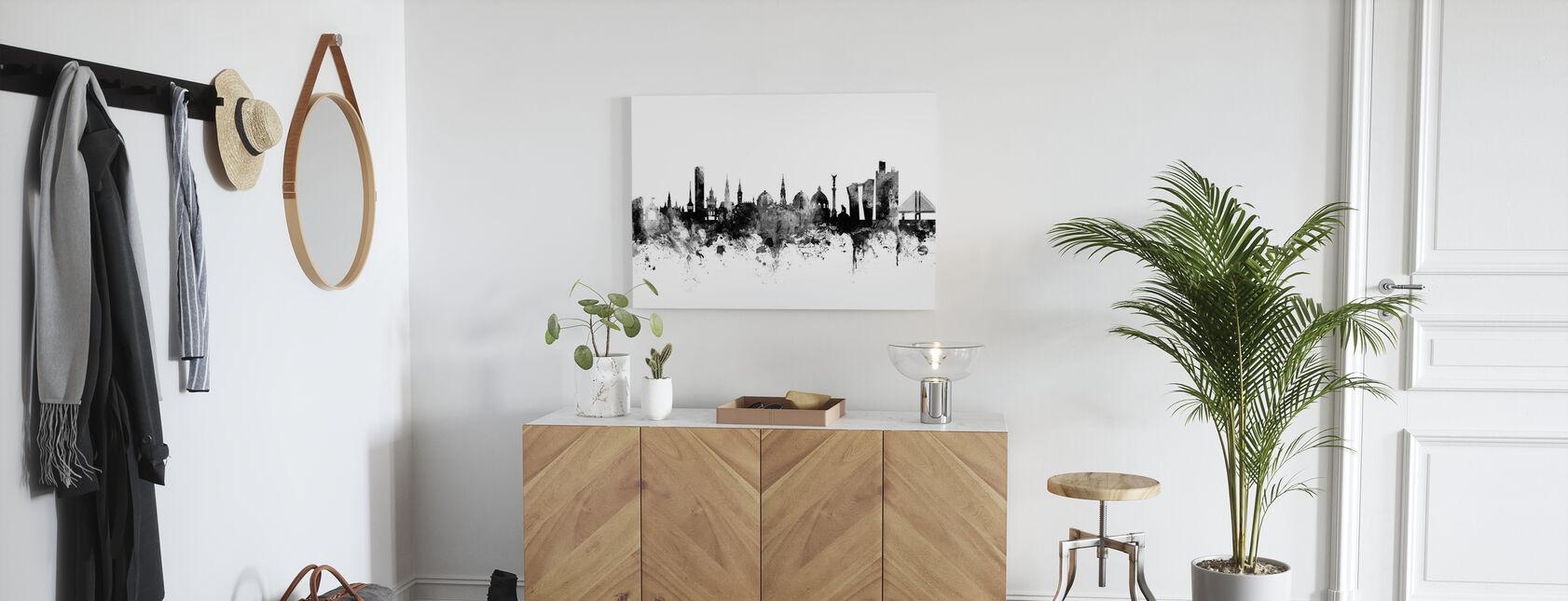 København Skyline Sort - Billede på lærred - Entré