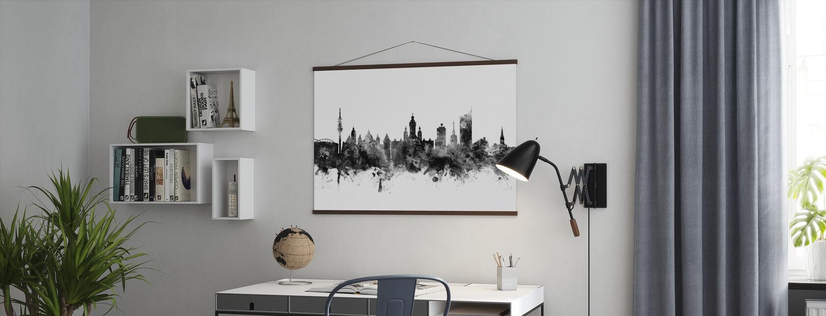 Leipzig Skyline Schwarz - Poster - Büro