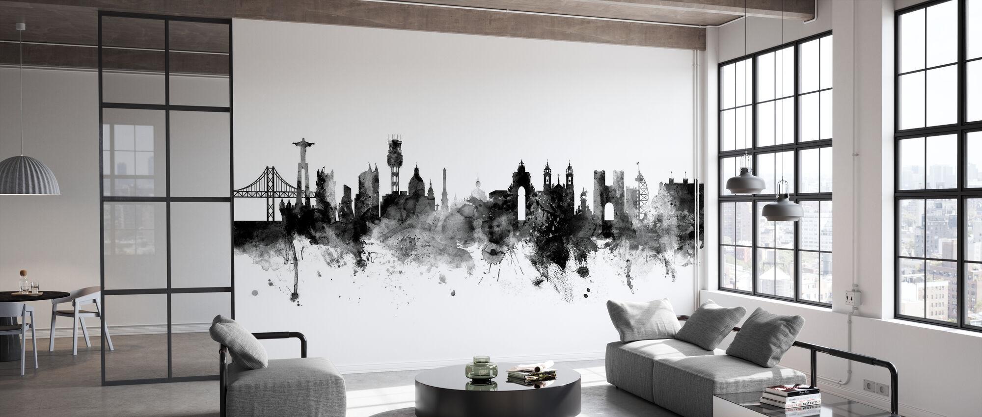 Lissabon Skyline Musta - Tapetti - Toimisto