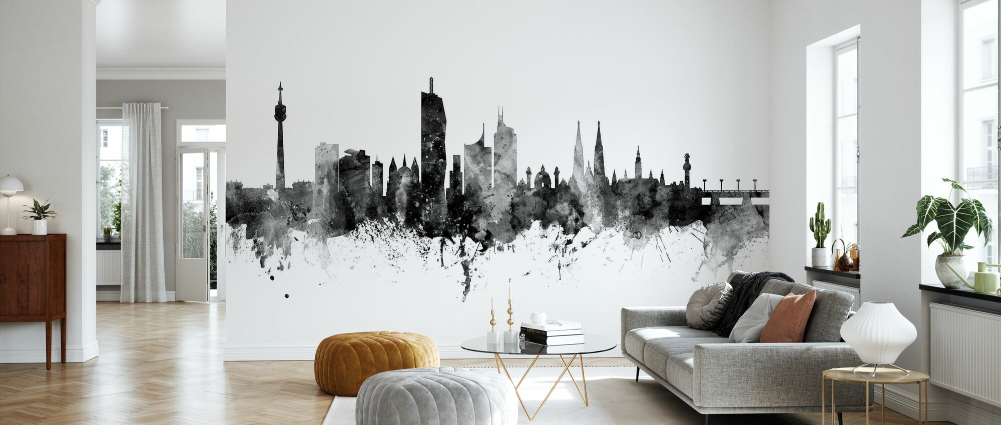 Vienna Skyline Black - Wallpaper - Living Room