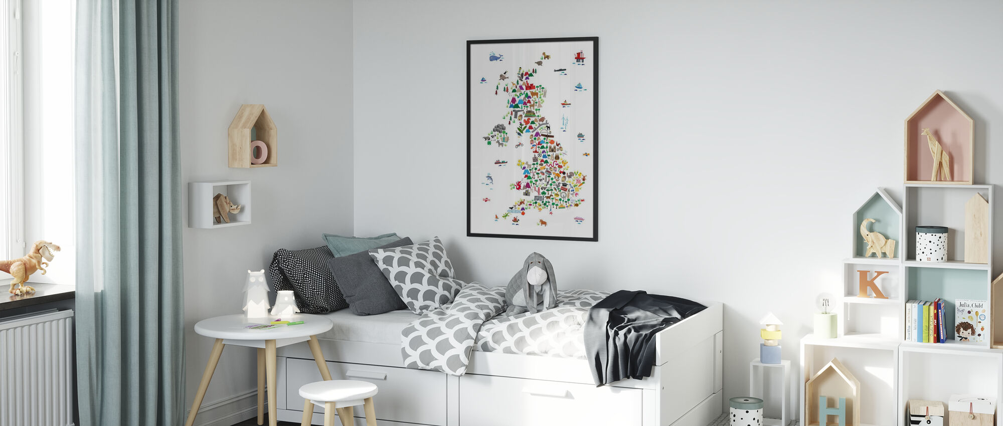 Animal Map UK - Framed print - Kids Room