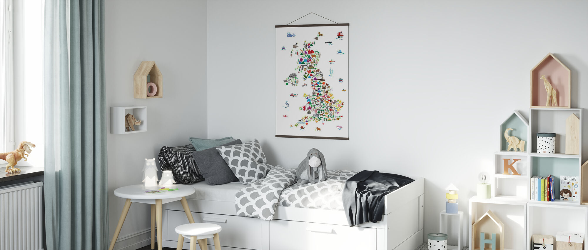 Animal Map UK - Poster - Kids Room