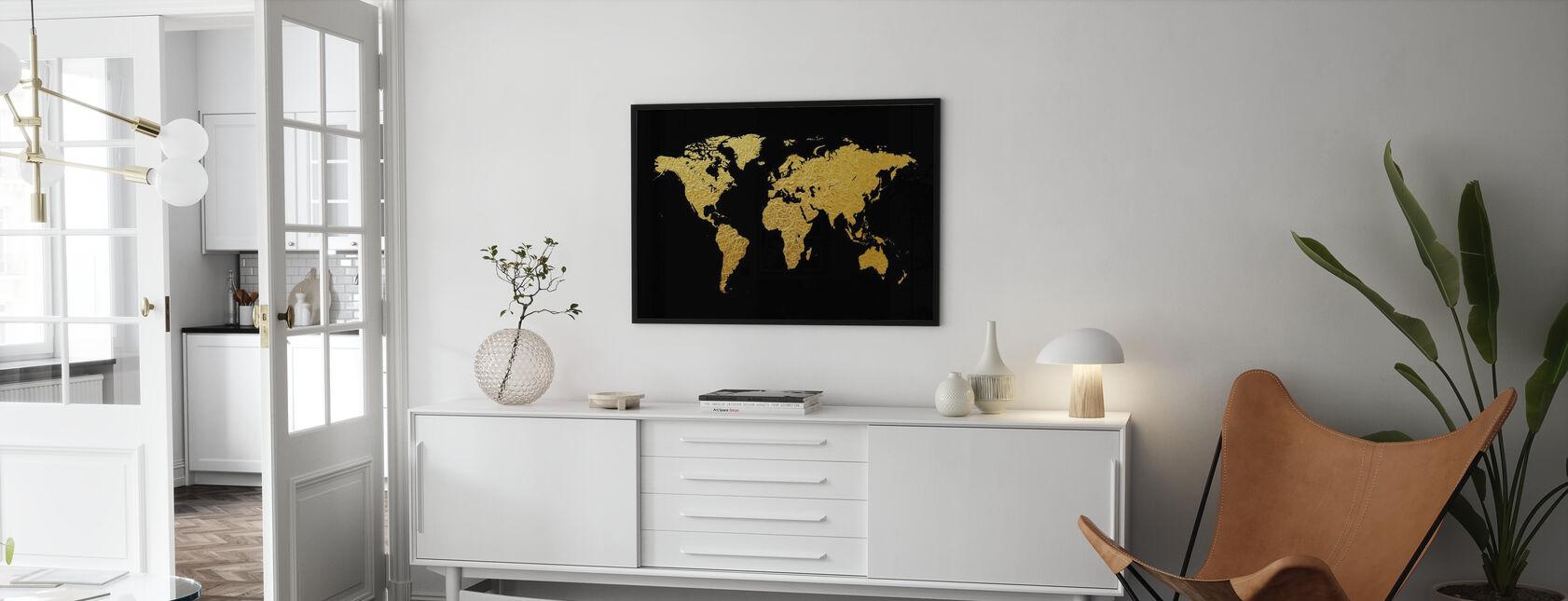 Guldverdenskort med sort baggrund - Plakat - Stue