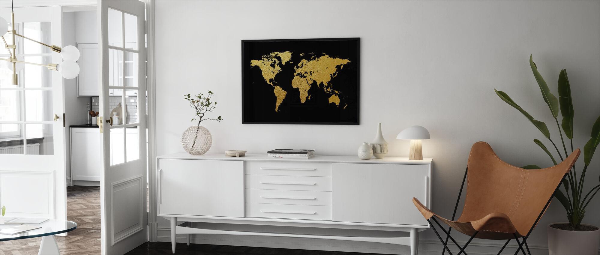 Gouden wereldkaart met zwarte achtergrond - Poster - Woonkamer