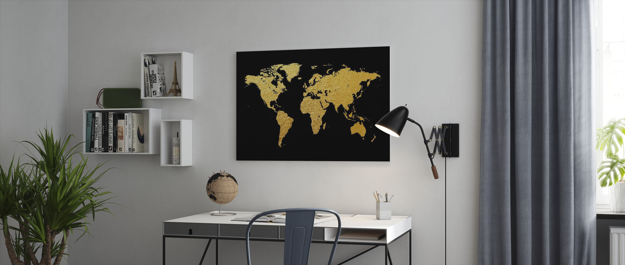 Gold World Map with Black Background - Canvas print - Office