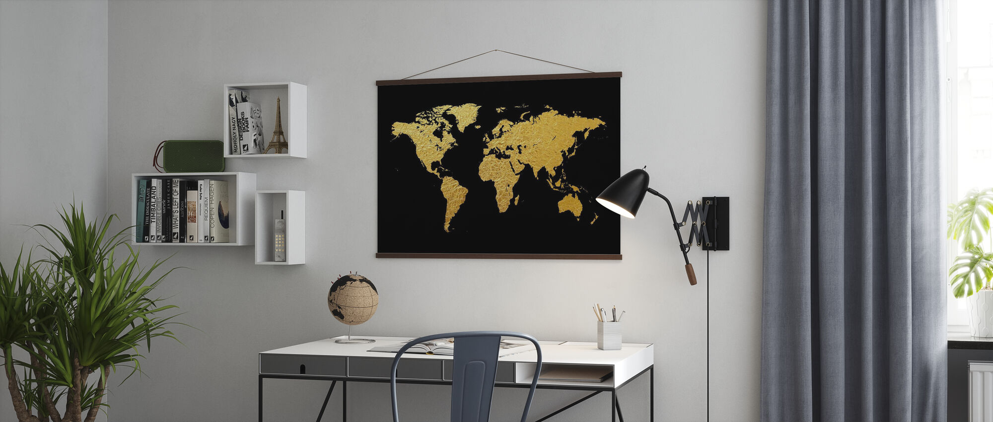 Gold World Map with Black Background - Poster - Office