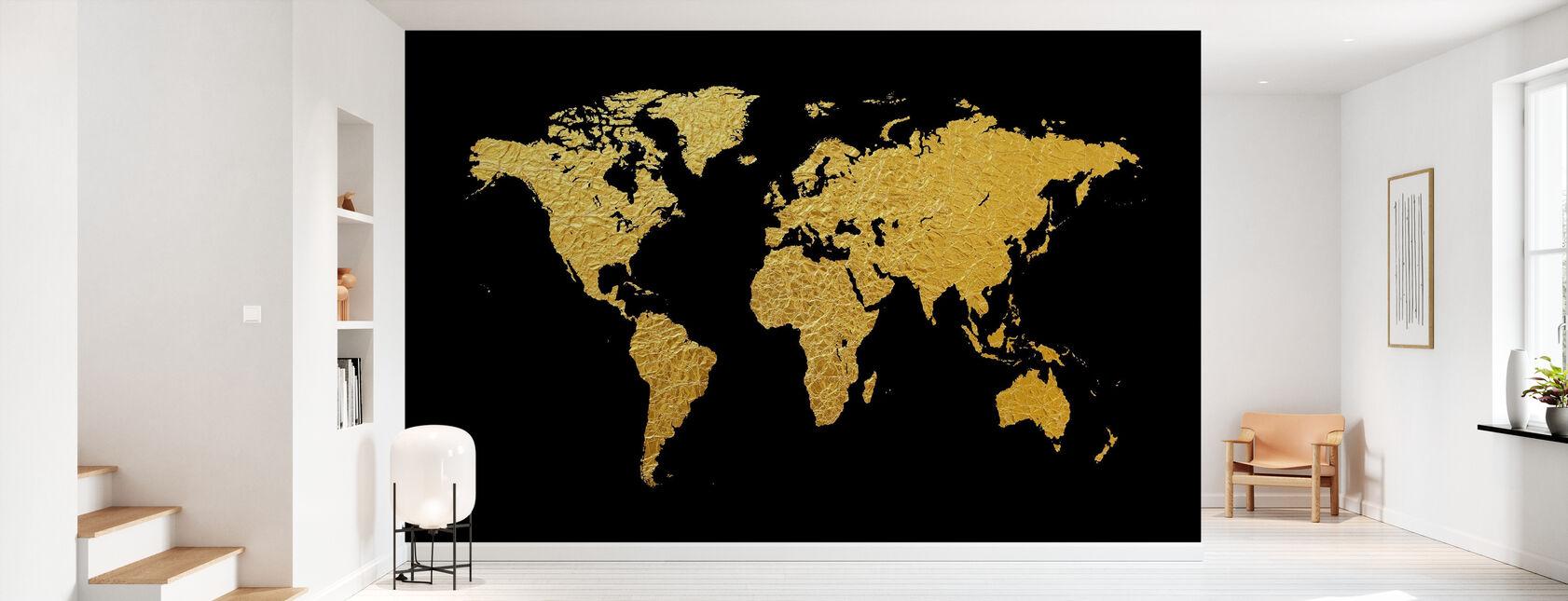 Kultainen maailmankartta mustalla taustalla - Tapetti - Aula
