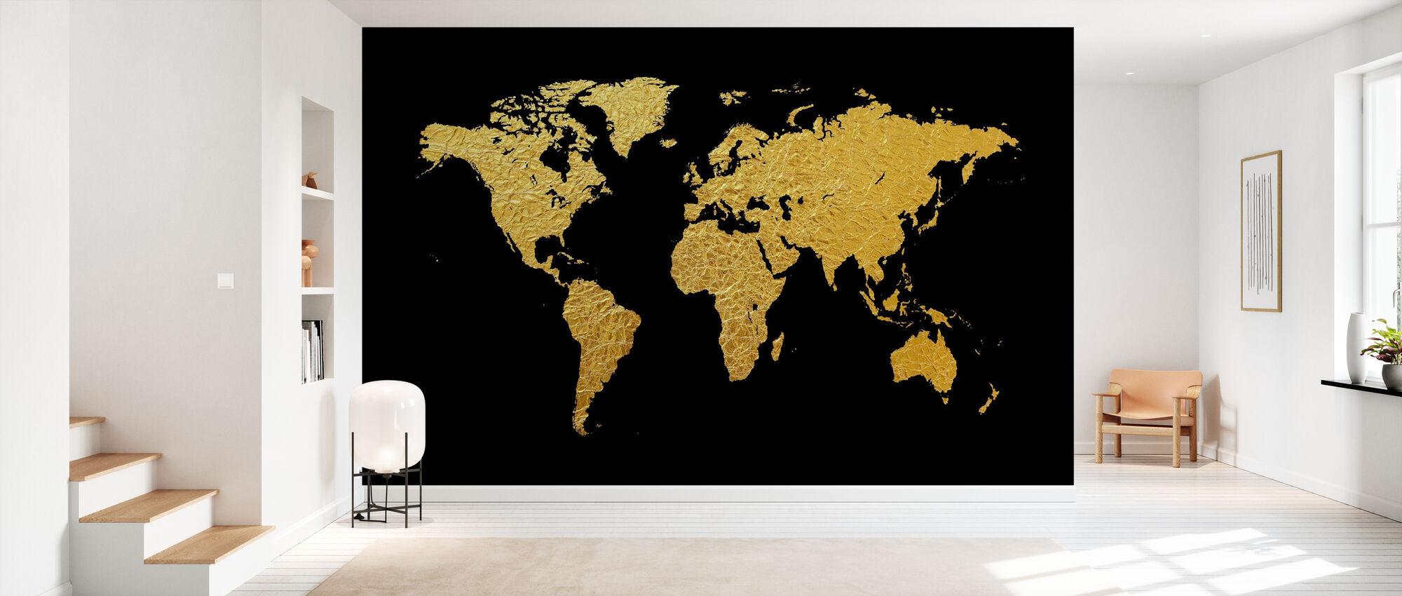 Goldene Weltkarte mit schwarzem Hintergrund - Tapete - Flur