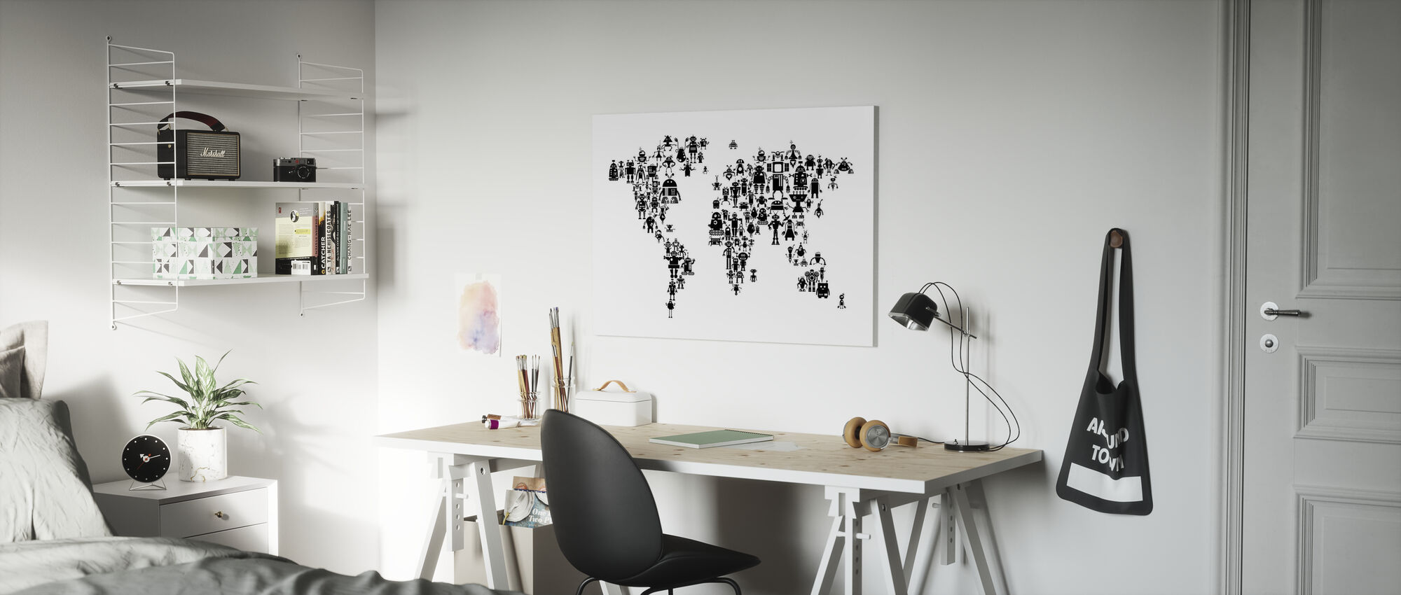 Robots World Map Black - Canvas print - Kids Room