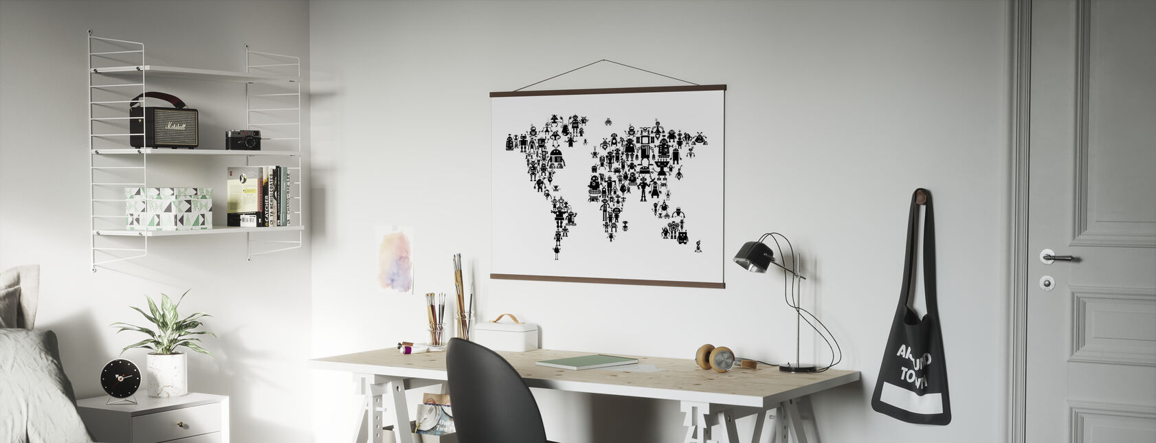 Robots Weltkarte Schwarz - Poster - Büro