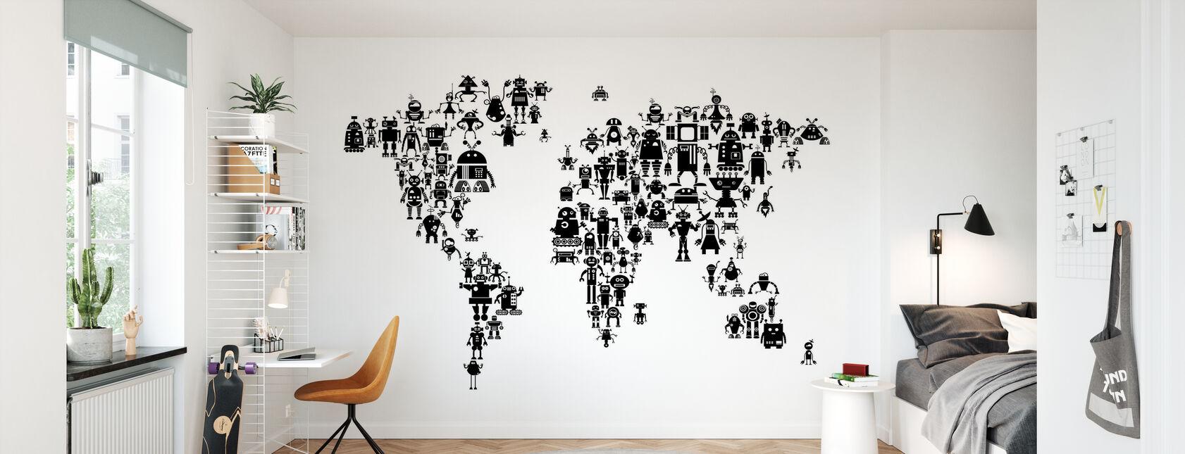 Robots Wereldkaart Zwart - Behang - Kinderkamer