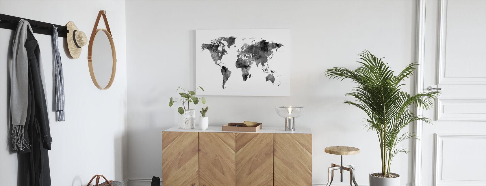 Vesiväri World Kartta Musta - Canvastaulu - Aula