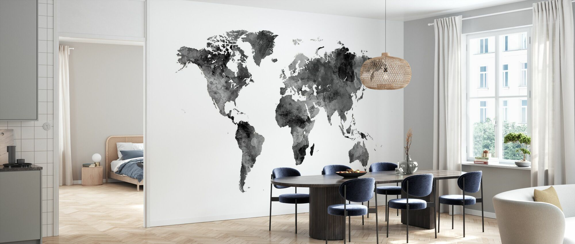Acuarela World Map Black - Papel pintado - Cocina