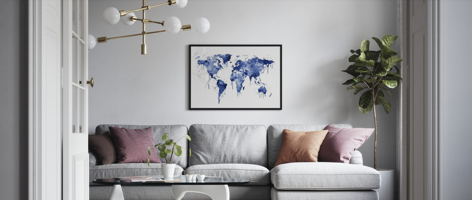 Watercolour World Map Blue - Poster - Living Room