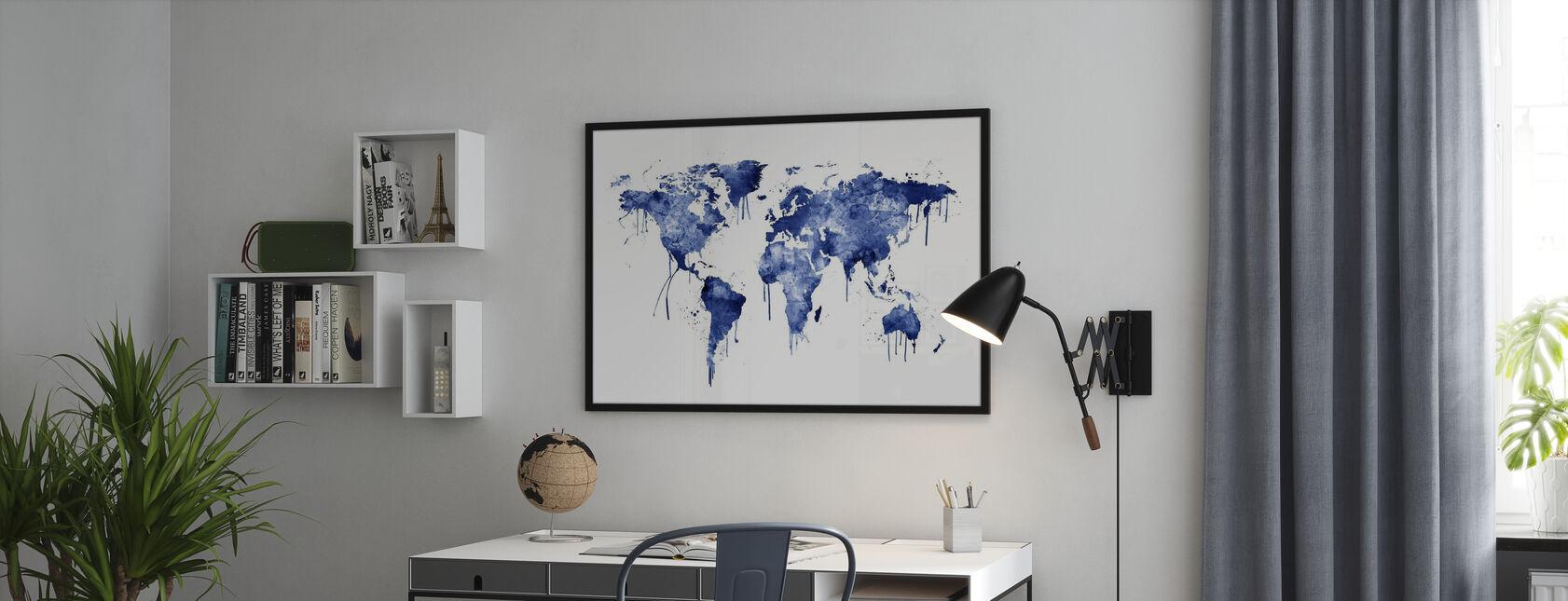 Vesiväri World Kartta Sininen - Kehystetty kuva - Toimisto