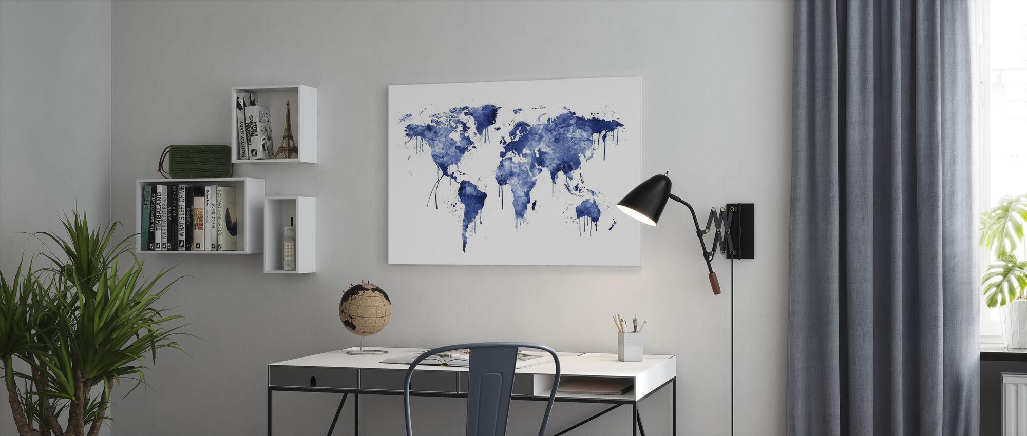 Aquarell Weltkarte Blau - Leinwandbild - Büro