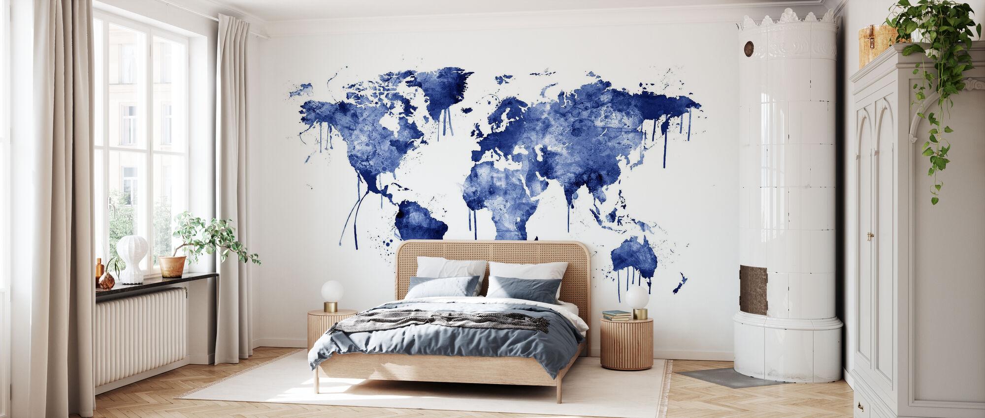 Akvarell World Karta Blå - Tapet - Sovrum