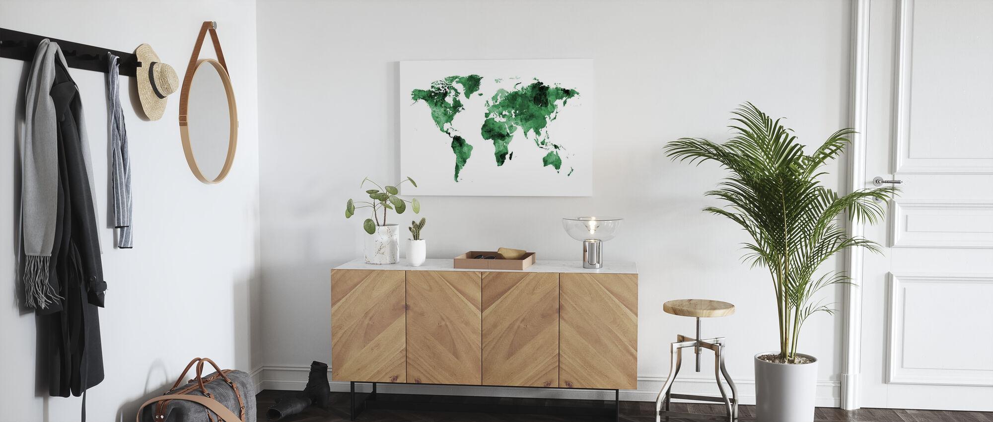 Aquarell Weltkarte Grün - Leinwandbild - Flur