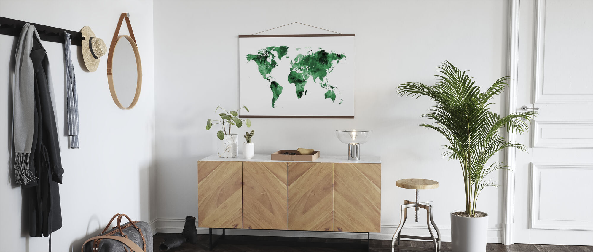 Watercolour World Map Green - Poster - Hallway