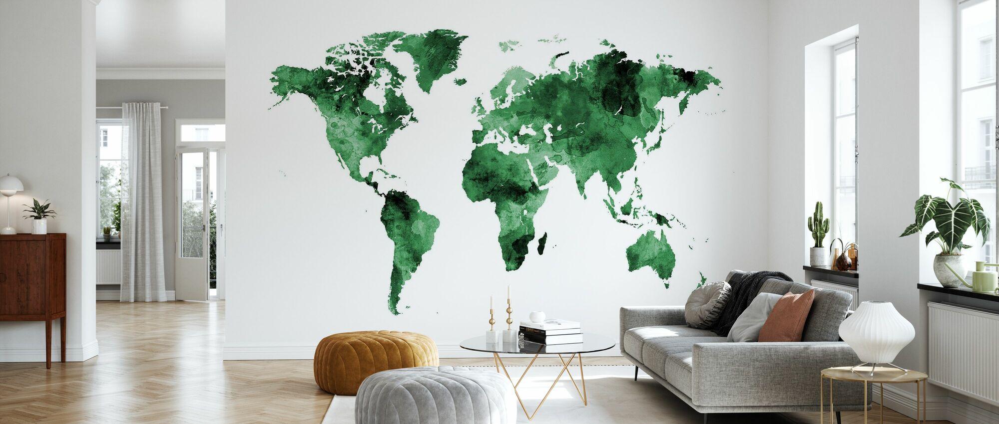 Aquarel Wereld Kaart Groen - Behang - Woonkamer