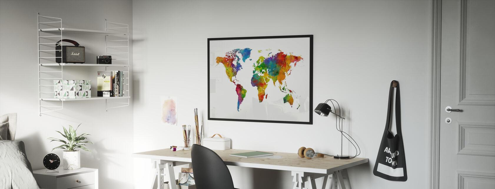 Watercolour World Map Multicolour - Framed print - Kids Room