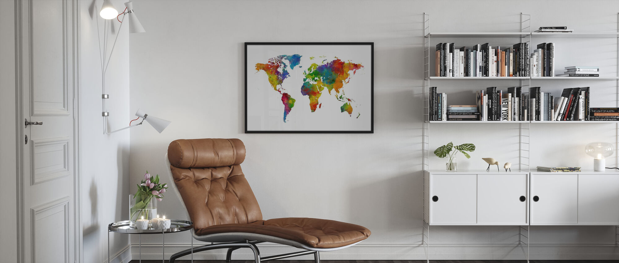 Watercolour World Map Multicolour - Poster - Living Room