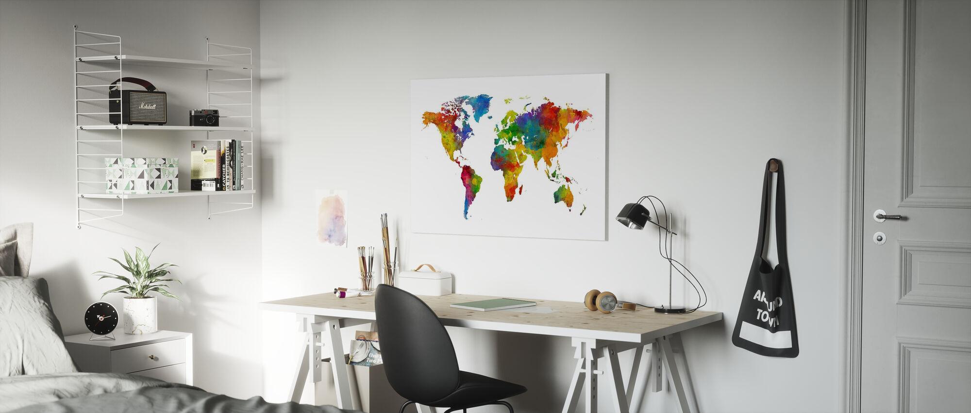 Akvarell världskarta Multicolour - Canvastavla - Barnrum