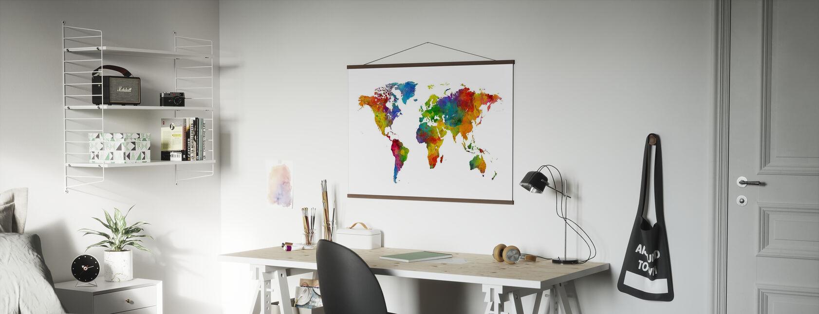 Watercolour World Map Multicolour - Poster - Office