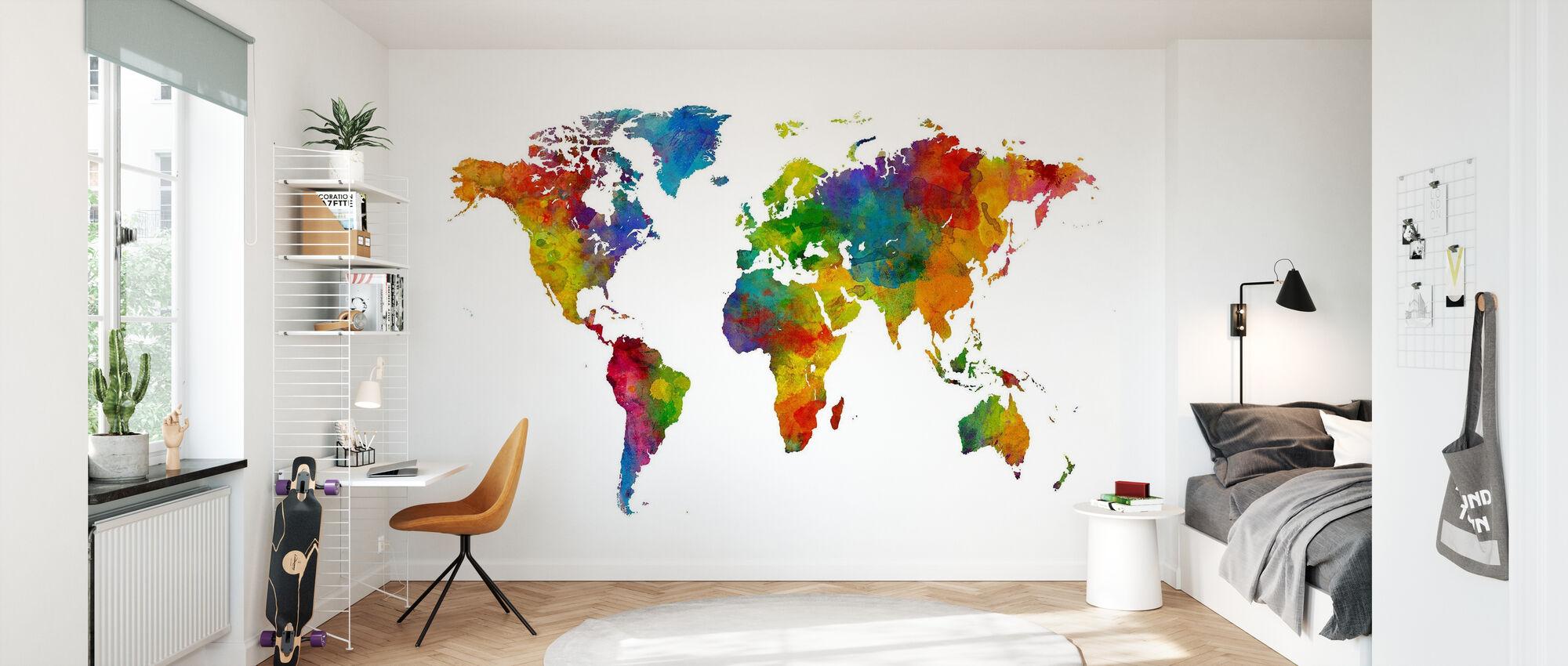 Watercolour World Map Multicolour - Wallpaper - Kids Room