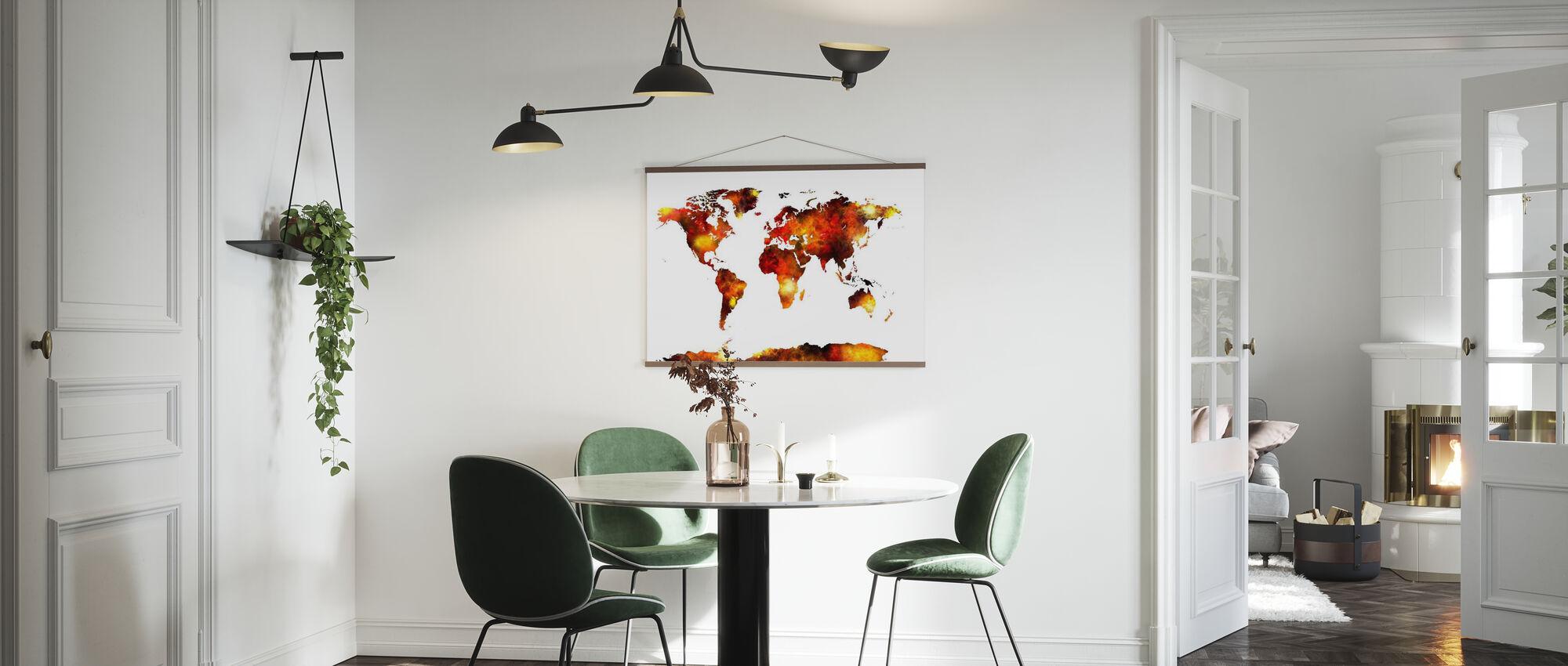 Akvarell världskarta Orange - Poster - Kök