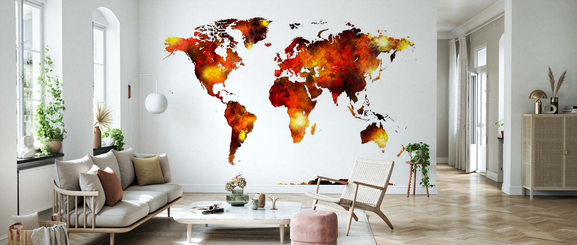 Watercolour World Map Orange - Wallpaper - Living Room