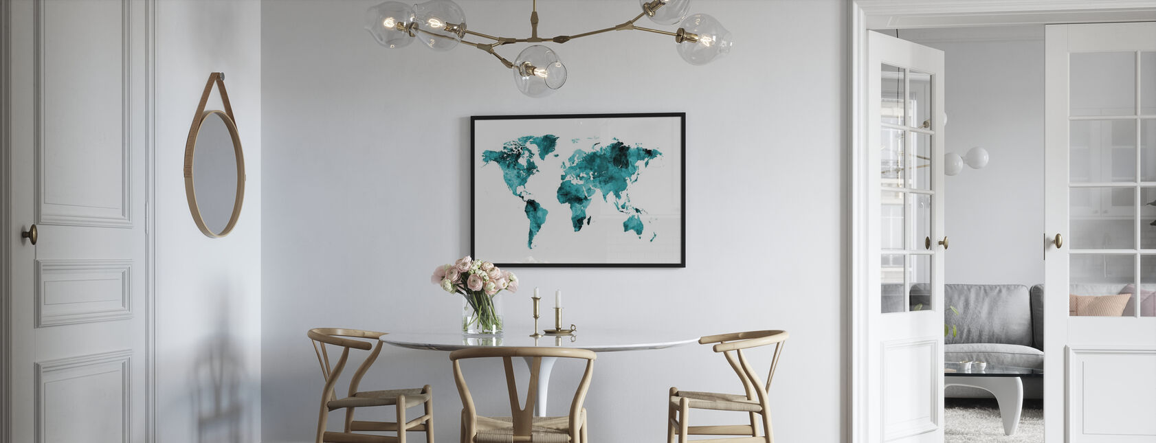 Aquarell Weltkarte Türkis - Poster - Küchen