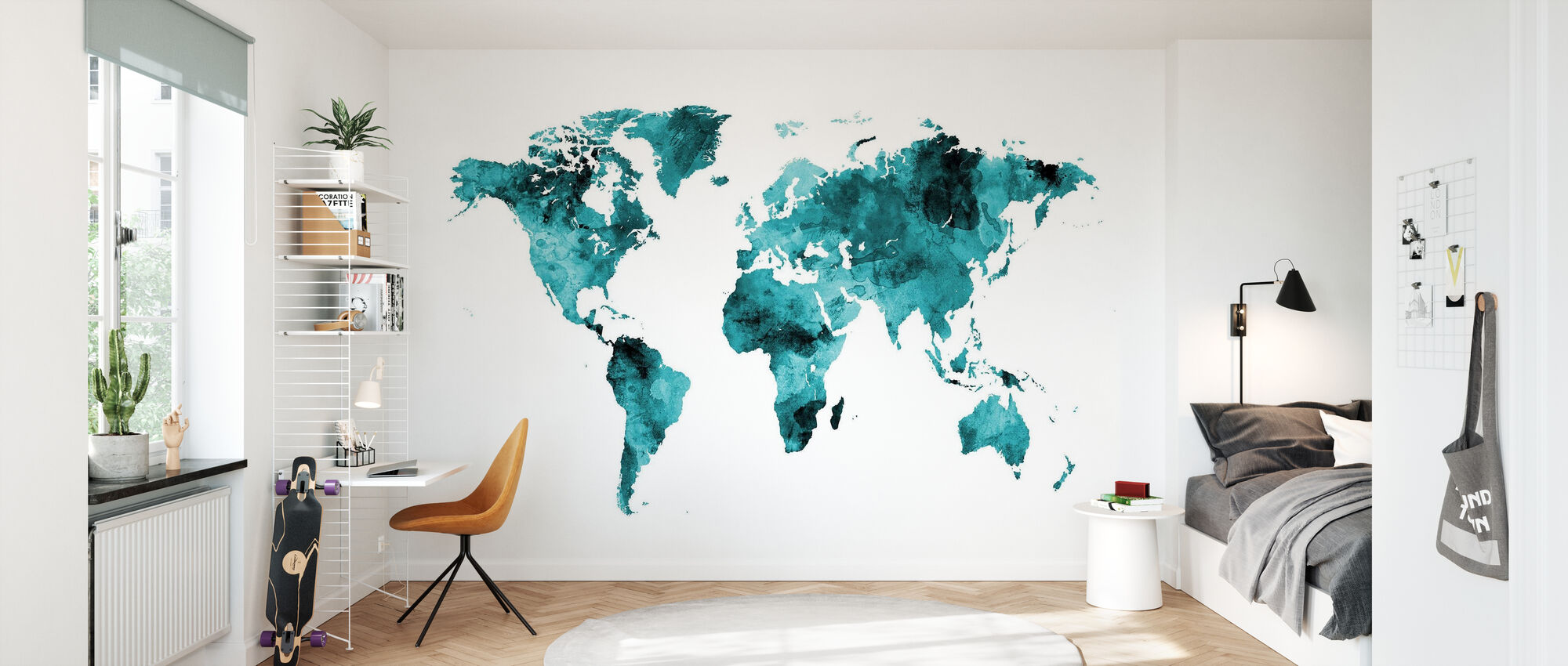 Watercolour World Map Turquoise - Wallpaper - Kids Room
