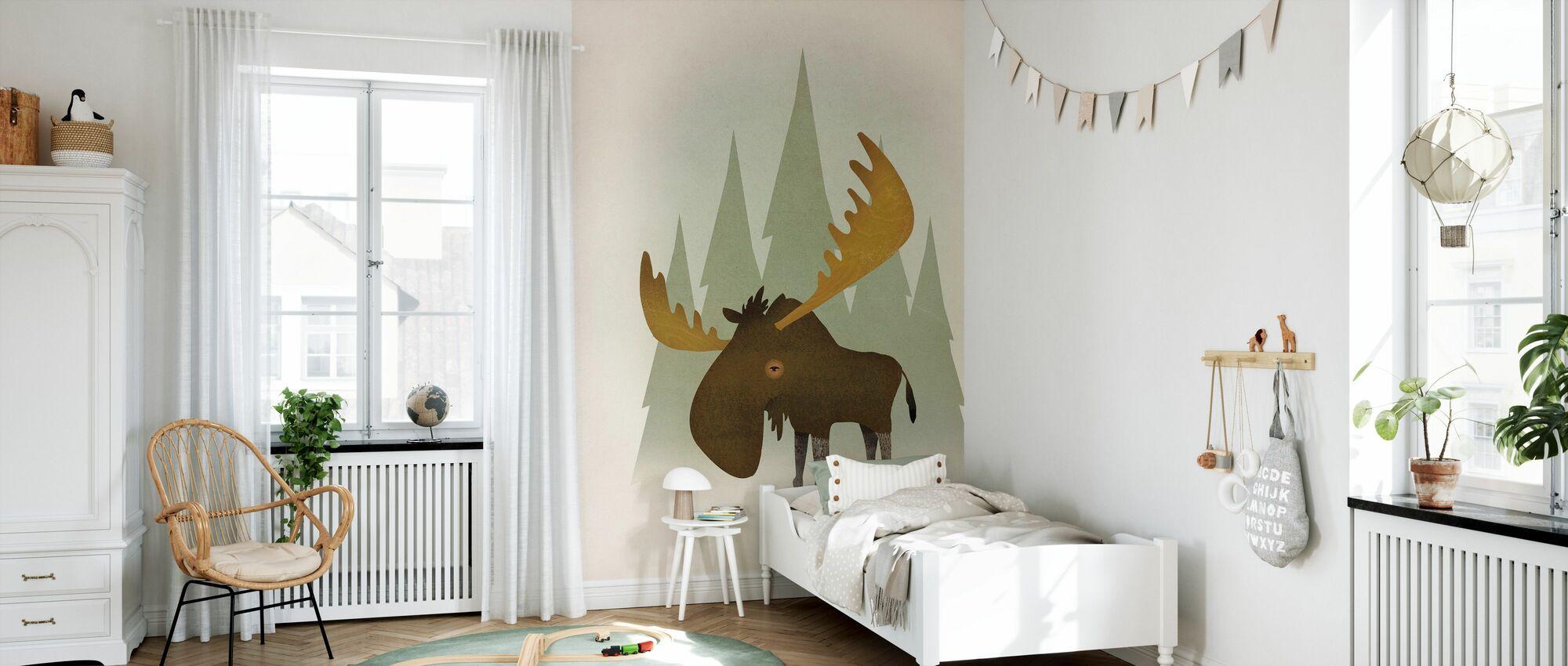 Forest Moose - Wallpaper - Kids Room