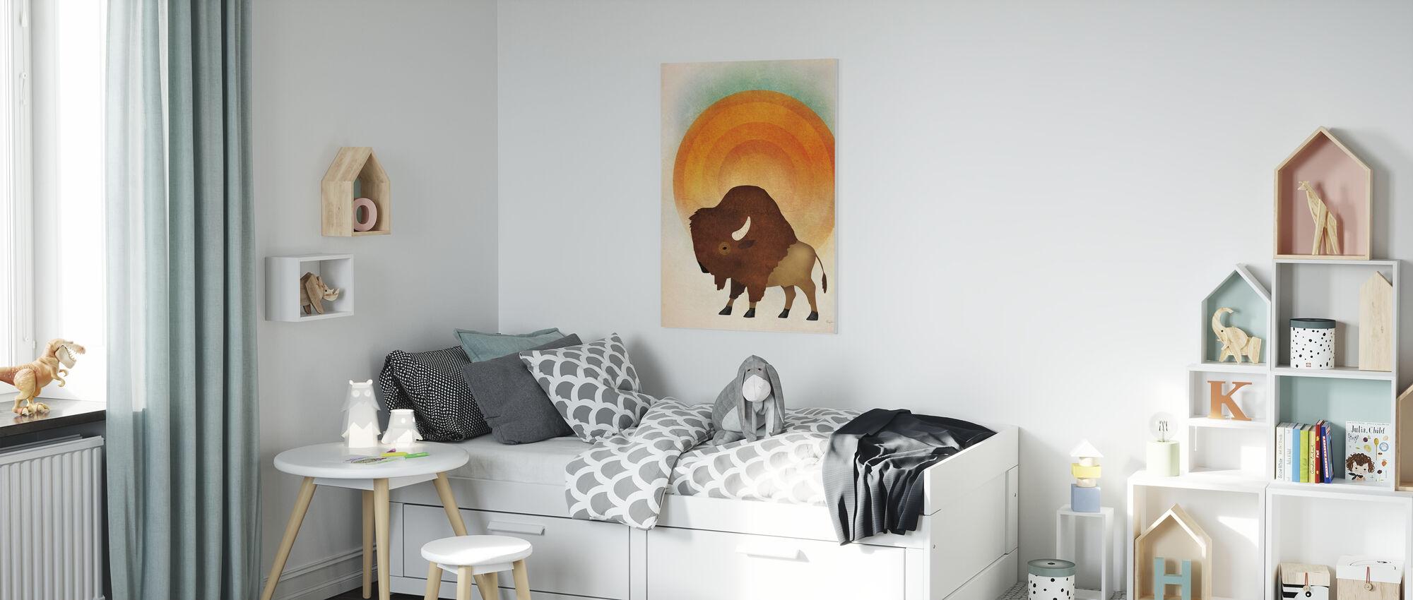 Brandende Zon Wisenten - Canvas print - Kinderkamer