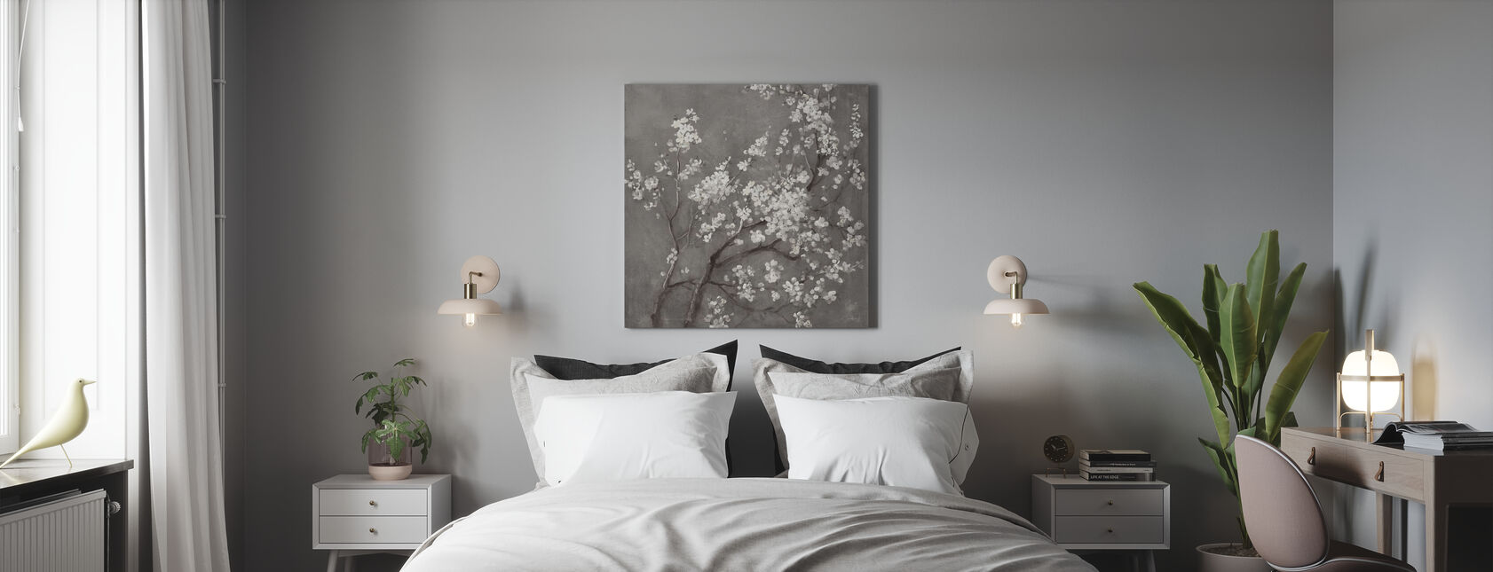 White Cherry Blossoms I on Grey Crop - Canvas print - Bedroom