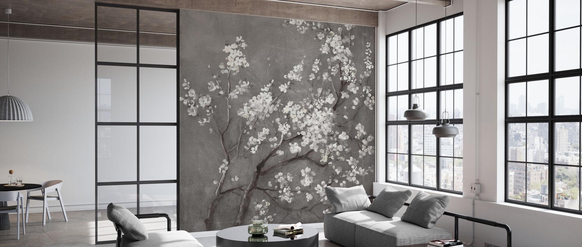Hvite Cherry Blossoms jeg på grå avling - Tapet - Kontor