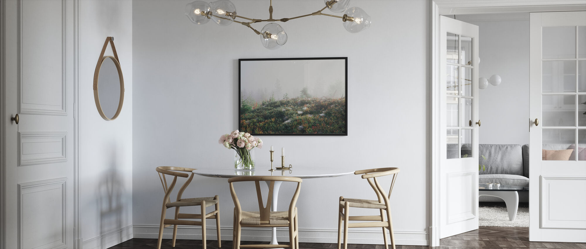 Morning Haze at the Mountain - Framed print - Kitchen