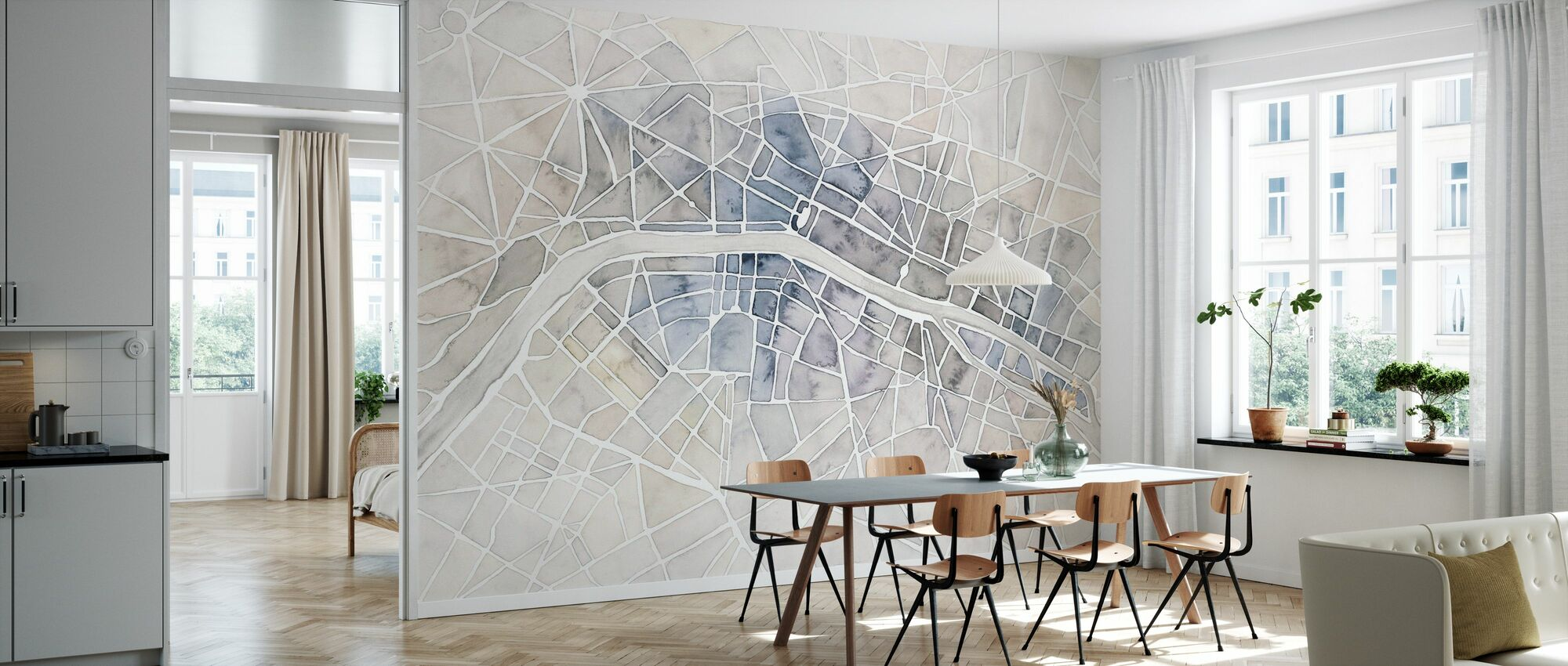 Aquarelle Wanderlust Paris - Papier peint - Cuisine