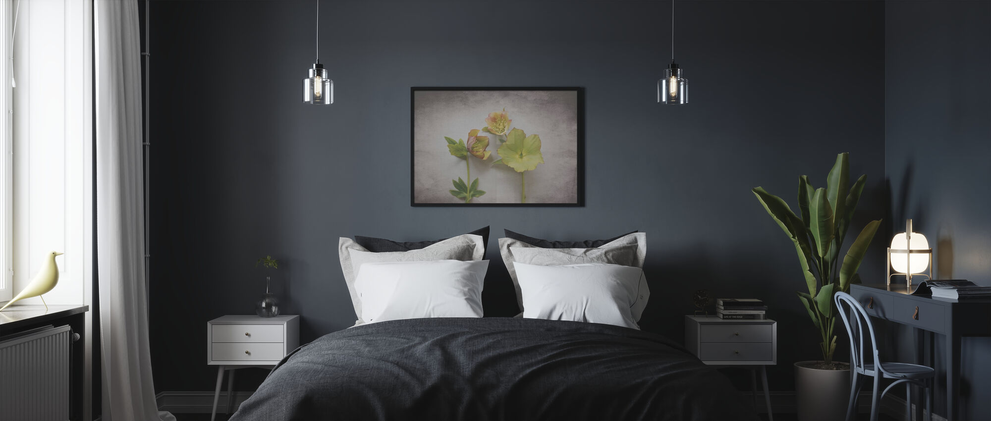 Vintage Hellebore Study IV - Framed print - Bedroom