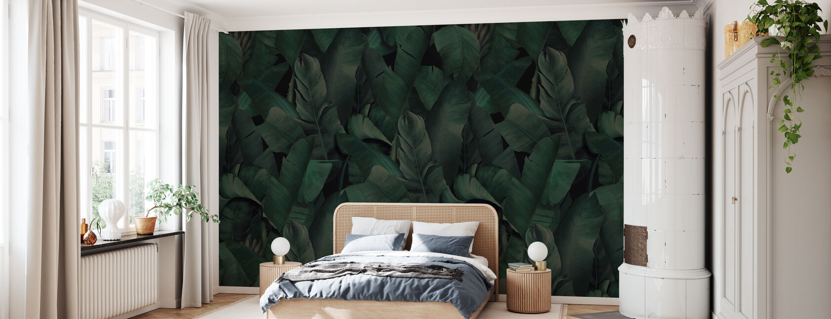 Botanikk tropisk skog grønn - Tapet - Soverom