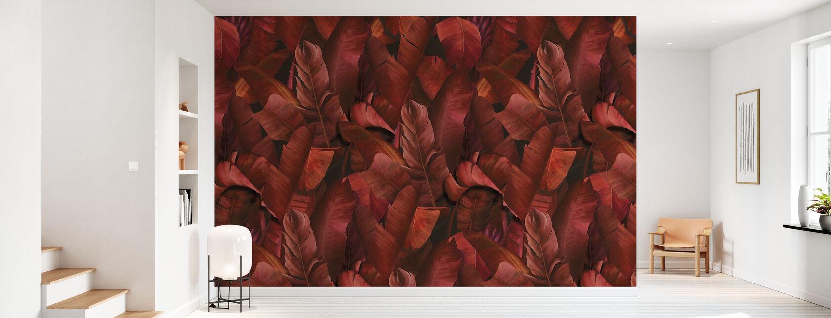 Botanika tropikalna spalona pomarańcza - Tapeta - Przedpokój