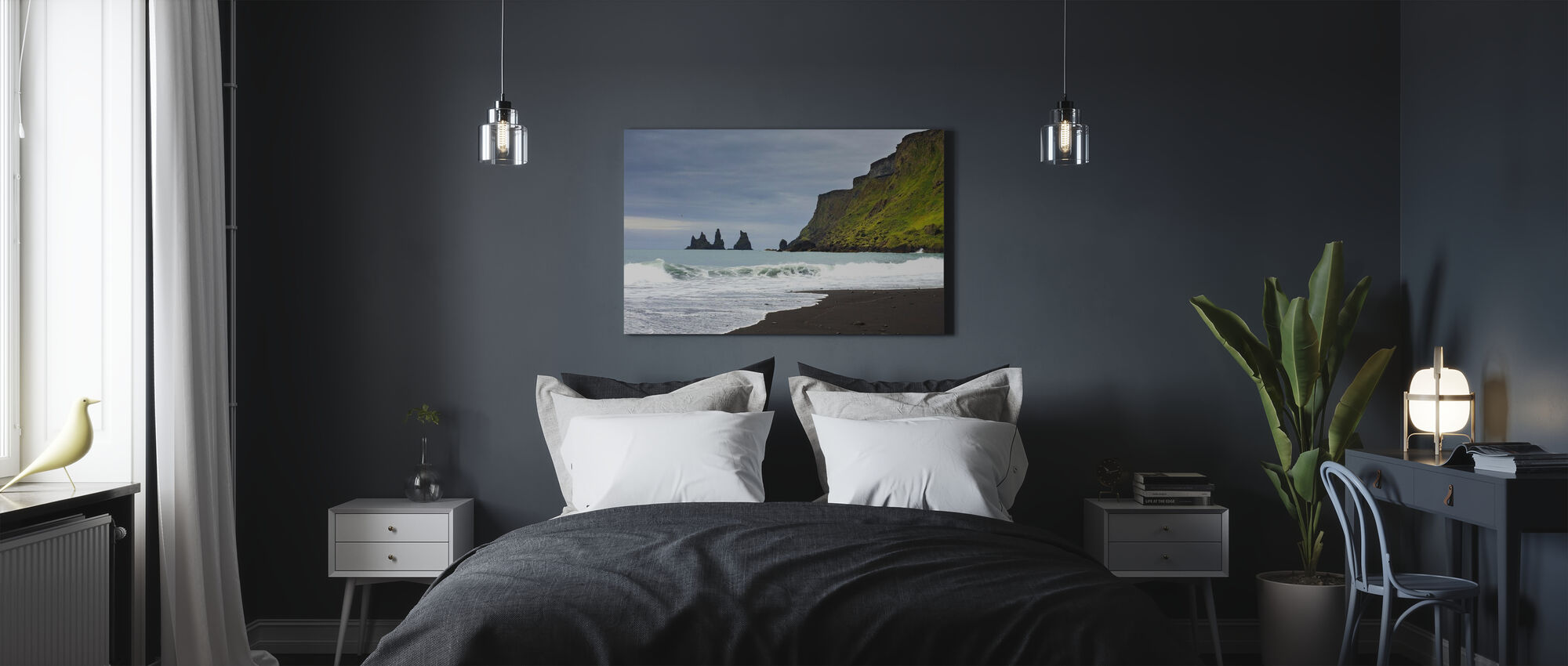 Black Sand of Iceland - Canvas print - Bedroom