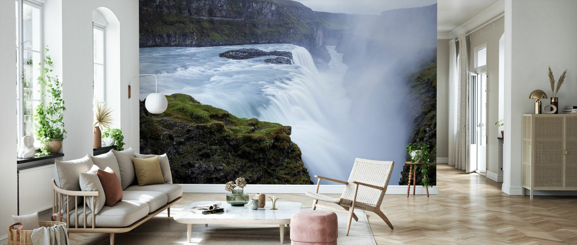 UK W#44 Peel and Stick Photo Wallpaper Removable Wall Wallpaper Gulfoss Falls in Iceland Wall Mural Wall Decal Wall Mural Non Woven